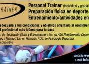 personal trainner, fitness y preparacion fisica en deportes.