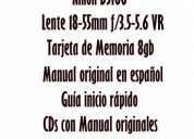 Vendo cámara nikon d5100lentebolsofiltrotarjeta de memoria 8gb