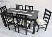 Vendo mesa de guatambu lustrada 6 sillas de madera tapisadas