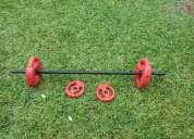 Vendo pesas y barra de body pump vendo o permuto por rollers buena calidad.