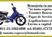 Mensajeria en moto tu moto express zona norte