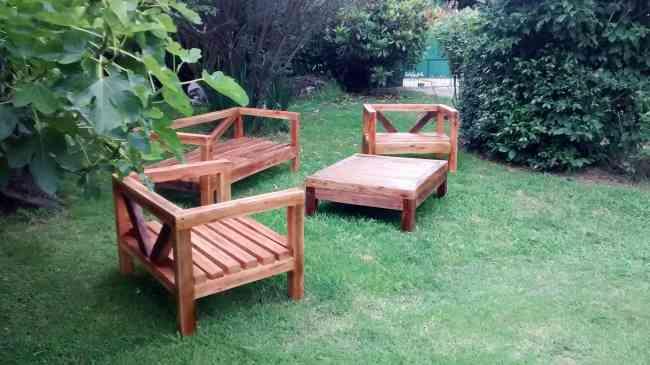 Juego de muebles de jard n en madera pilar pilar for Muebles de jardin de madera