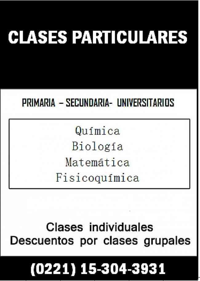 Clases particulares Química Biología Física Matemática