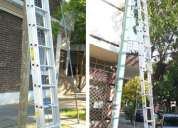 Escalera extensible aluminio reforzada 2 tramos de 12 escalones altura extendida 6.30 mts