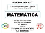 Clases particulares de matemática (ingreso uns bahía blanca 2017)