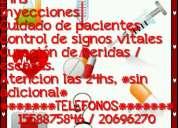 Aplicación inyecciones a domicilio 24hs enfermería