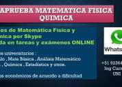 Clases fisica quimica calculo universitario tareas examenes whatsapp