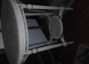 Mesa oval con mármol arabescato luis16
