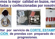 Servicio de estampado textil , serigrafía , tampografía, sublimación y corte de prendas