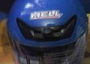 Vendo este casco azul marca meel para moto