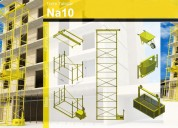 Tribunas gradas escenarios torres elevadoras montacargas andamios techos estacionamientos