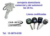 Cerrajeria y llaves codificadas en caseros 15-36756155 (24 hs)