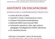 Curso de asistente en discapacidadintrod al at, contactarse.