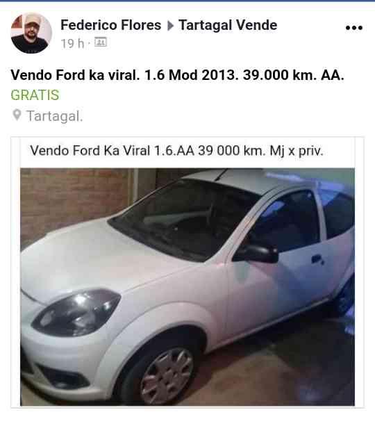 Vendo Ford ka viral 1.6.AA.  mod 2013. 39 mil k