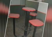 Bancos de madera y hierro con mesa y 3 asientos !