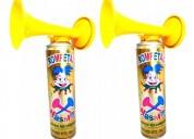 Trompetas cornetas en aerosol de cotillón x6