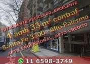 Departamento en venta en zona alto palermo 1 ambiente 33 m2 al contrafrente av santa