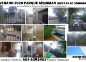 Alquiler casa en sierras de cordoba verano 2020