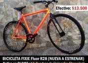 bicicleta rodado 28 fixie naranja fluor a estrenar