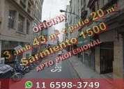 Oficina en venta en microcentro en pb contrafrente 3 ambientes 43 m2 patio sarmiento 2 dormitorios