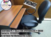 Escritorio pc + silla con apoyabrazos = $8500